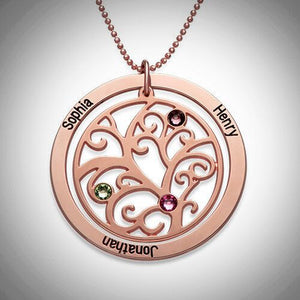 Rose Gold Family Tree Birthstone Loop Necklace