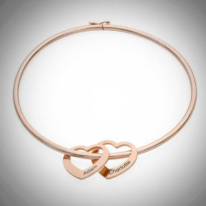 Sterling Silver, Rose Gold or Gold - Heart Charms Bangle Bracelet