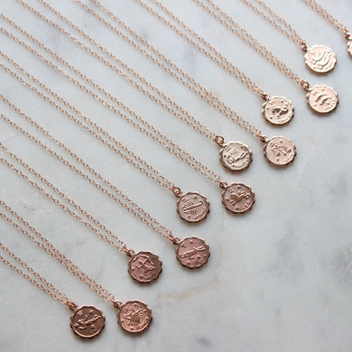 Coin Zodiac Necklace- Silver, Gold or Rose Gold