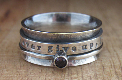 Rustic Sterling Silver Birthstone Spinner Ring