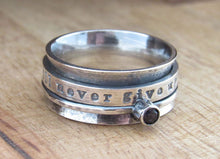 Load image into Gallery viewer, Rustic Sterling Silver Birthstone Spinner Ring