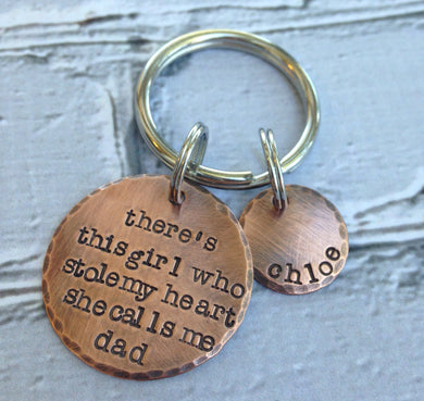 Rustic  Copper Dad Keychain