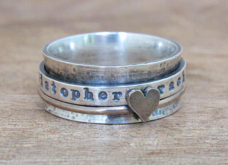 Rustic Bronze and Sterling Silver Mixed Metal Spinner Ring