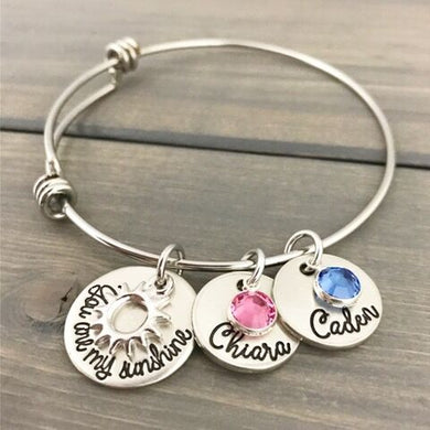 Silver And Pewter Sunshine Bangle Bracelet