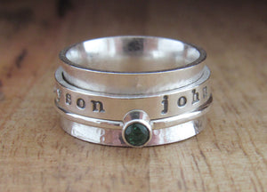 Sterling Silver Birthstone Spinner Ring