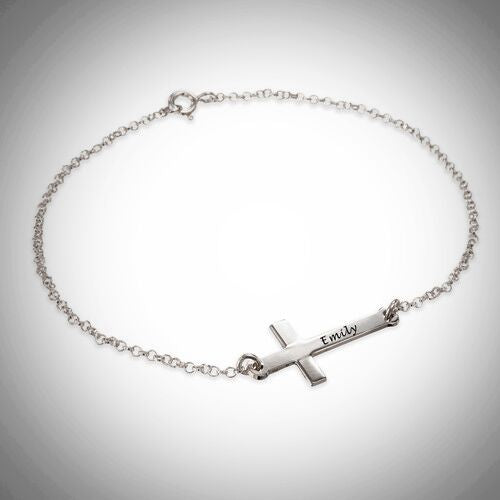 Sterling Silver Personalized Sideways Cross Bracelet