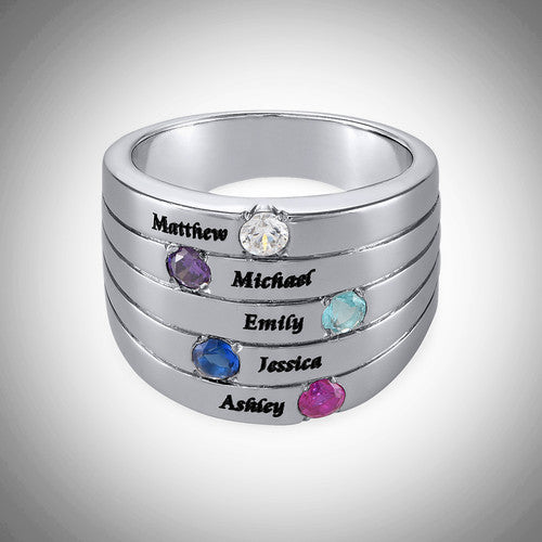 Silver Five Stone Mother's Ring