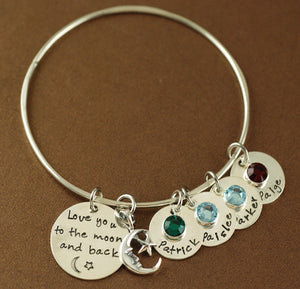 Moon and Back with Names Solid Sterling Silver Bangle Bracelet