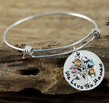 Load image into Gallery viewer, Personalized Family Birthstone Tree Bangle Bracelet- Gold or Silver