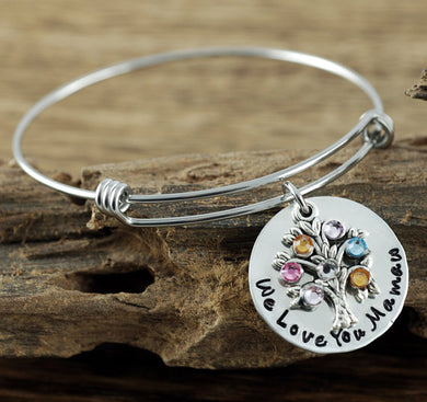 Personalized Family Birthstone Tree Bangle Bracelet- Gold or Silver