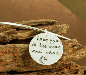 Love You To The Moon and Back Sterling Silver Bangle Bracelet