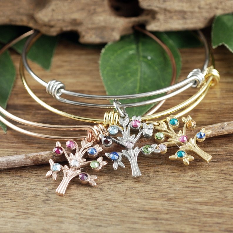 Simple Family Tree Bangle Bracelet - Choose A Color