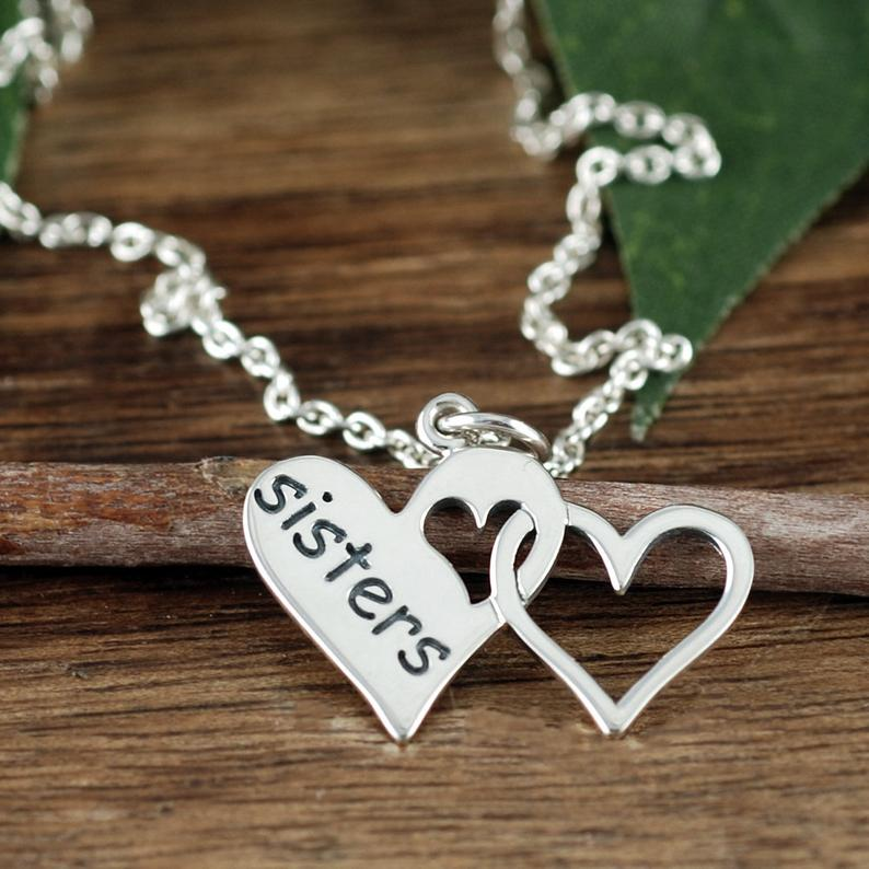 Sterling Silver Sisters Heart Necklace
