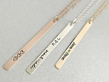 Load image into Gallery viewer, PERSONALIZED SKINNY BARS NECKLACE (CHOOSE YOUR METALS)