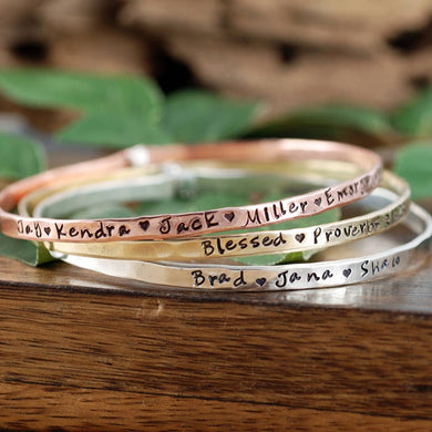 Personalized Solid Riveted Bangle Bracelet