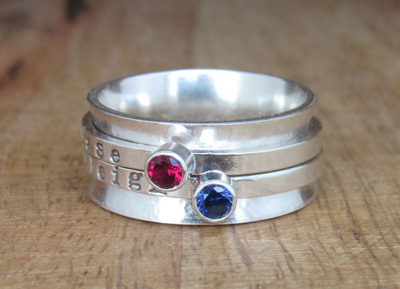 Sterling Silver Two-Birthstone Spinner Ring
