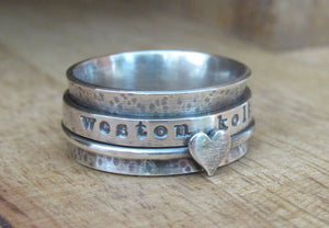 Rustic Sterling Silver Spinner Ring 1