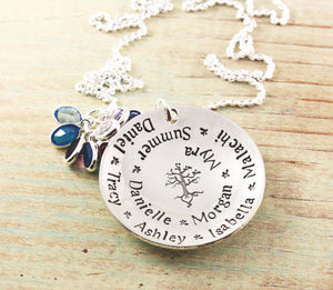 Spiraled Names Birthstone Necklace