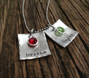 Domed Square Necklace with Birthstones