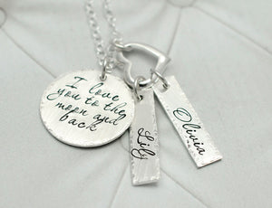 Moon and Back Sterling Silver Name Tag And Heart Necklace