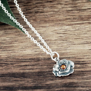 Sterling Silver Poppy Flower Necklace