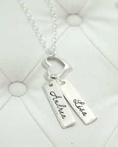 Sterling Silver Name Tag And Heart Necklace