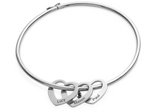Load image into Gallery viewer, Sterling Silver, Rose Gold or Gold - Heart Charms Bangle Bracelet