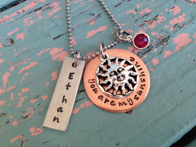 Mixed Metal Sunshine Charm Necklace