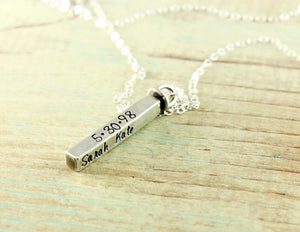 Personalized Sterling Silver Swivel Bar Necklace
