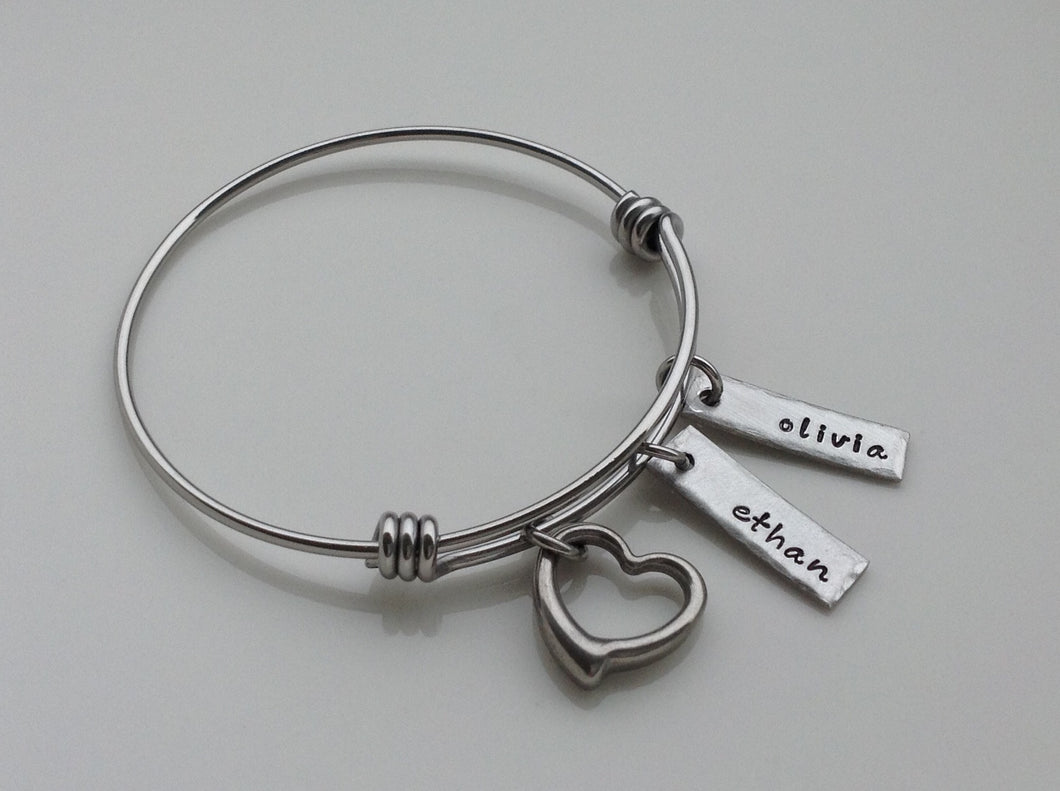 Pewter Name Tag And Heart Bangle Bracelet