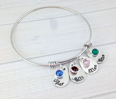 Teardrop Names and Birthstones Bangle Bracelet