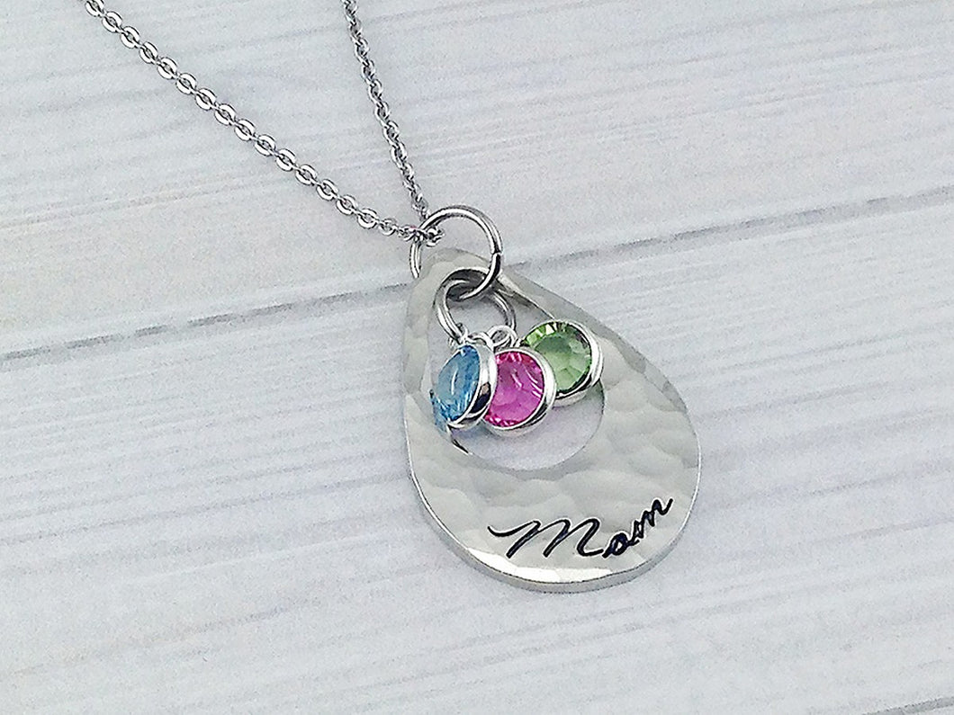Open Teardrop With Framed Birthstones Necklace