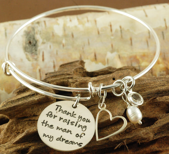 Thank You For Raising The Man Of My Dreams Bangle Bracelet