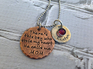 Rustic Mixed Metal There's This Boy Personalized Necklace