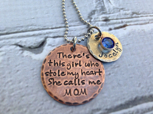 Rustic Mixed Metal There's This Girl Personalized Necklace