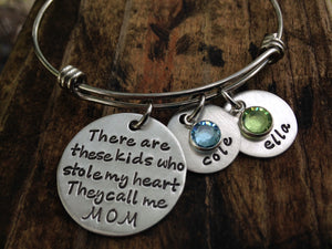 These Kids Stole My Heart Birthstone Bangle Bracelet