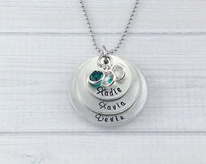 Three Layer Fine Pewter Birthstone Necklace