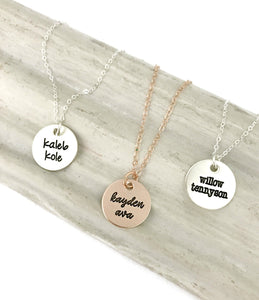 Three Name Disc Necklace - Choose a Metal