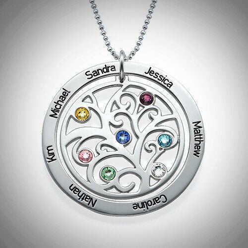 Sterling Silver Family Tree Birthstone Loop Necklace