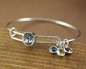 Tree Of Life Birthstone Bangle Bracelet 1