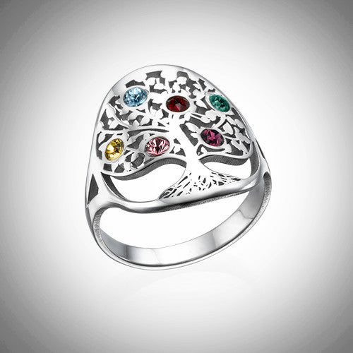 Sterling Silver Family Birthstone Tree Ring
