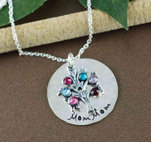 Load image into Gallery viewer, Hand Stamped Sterling Silver Birthstone Tree Necklace