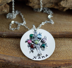 Hand Stamped Sterling Silver Birthstone Tree Necklace