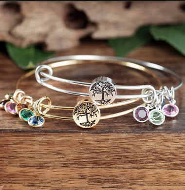 Tree Of Life Birthstone Bangle Bracelet