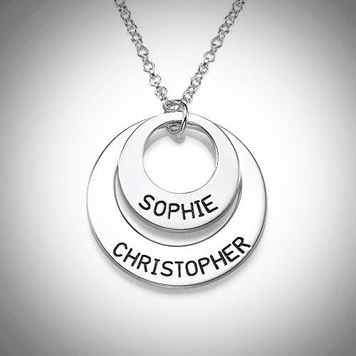 Sterling Silver Engraved Two Loop Necklace