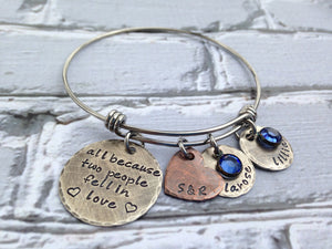 Rustic All Because Two People Fell In Love Bangle Bracelet