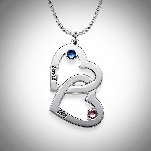 Sterling Silver Interlocking Hearts Birthstone Necklace