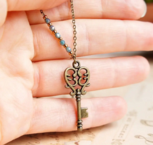 Load image into Gallery viewer, Vintage Inspired Bronze Key Necklace