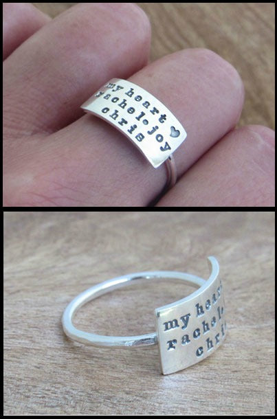 Sterling Silver Nameplate Statement Ring