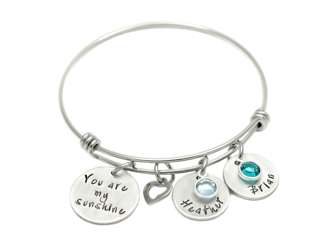 You Are My Sunshine And Heart Bangle Bracelet